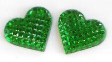 Vintage Heart Cabochons Glass Emerald Green Hearts Art Deco 18x14mm NOS #1402J