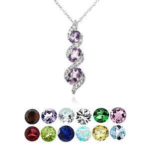 Sterling Silver Gemstone Birthstone Oval S Design Three-Stone Journey Necklace