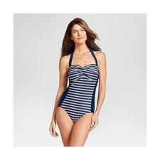 f7e74eca0d Merona Wire Swimsuit One Piece S Navy Blue white Stripe