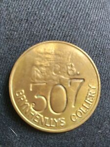 VINTAGE ORIGINAL BRASS MINERS CHECK BRYNHENLLYS COLLIERY SOUTH WALES