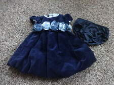 BOUTIQUE KATE MACK 6M 6 MONTHS NAVY BLUE VELOUR DRESS GORGEOUS