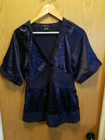 BCBG MaxAzria women's blouse top navy blue satin sleeve size Medium v-neck