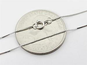 """14K 16"""" Solid White Gold Thin Dainty Classic BOX Necklace Chain .5mm 14K Gold"""