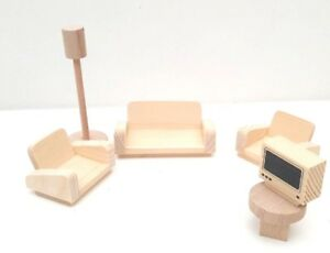 Wooden Toy  Dollhouse Miniature Living Room Furniture Set of 6 Pcs