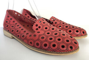 Django & Juliette 'Angelina' Red Leather Loafers Laser Cut Size 37 AU 6.5 Casual