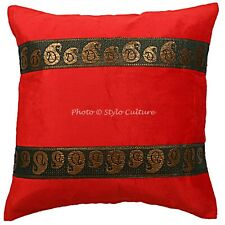 Velvet Sofa Throw Pillows Covers Red Brocade Jacquard Floral Cushion Cover