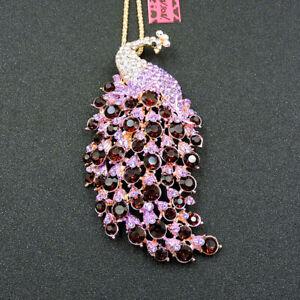 Fashion Women's Purple Crystal Enamel Peacock Pendant Betsey Johnson Necklace