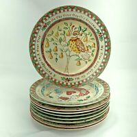 """PARTIAL SET OF 9 222 FIFTH 12 DAYS OF CHRISTMAS 8"""" SALAD PLATES FREE SHIPPING"""