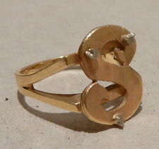 14K GOLD INITIAL RING - 4 GRAMS - SIZE 5 1/2 - FREE SHIPPING