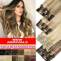 CLEARANCE Clip In 100% Real Remy Human Hair Extensions 8pcs Full Head Highlight