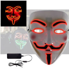 Red LED Halloween Cosplay Anonymous Vendetta Guy Fawkes Light Up Mask Costume