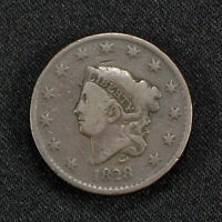 1828 1c CORONET HEAD LARGE CENT, VG+ COIN LOT#Y467