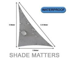 New Waterproof Shade Sail- Right Triangle 3m x5m x 5.8m Grey Color