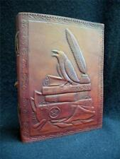 RAVEN / CROW - A5 Handmade Leather Journal Diary - Pagan Wicca Book of Shadows