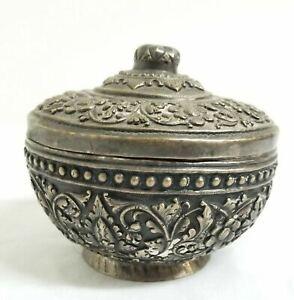Antique South East Asian Burma Singapore Silver Bowl Betel Nut Dish