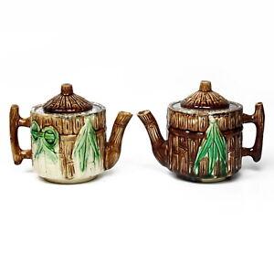 Antique 1880's J.S. Taft and Co. Keene, NH Bamboo Motif Majolica Teapot Pair