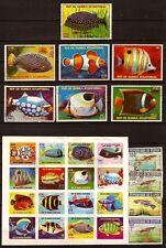 PR24 GUINEE Differentes especes de poissons 1 bloc et 11 timbres oblitérés.