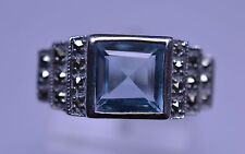 ART DECO STYLE STERLING SILVER SQUARE PRINCESS CUT BLUE TOPAZ & MARCASITE RING