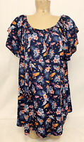 "NWOT Terra & Sky Blue Floral Shirt Plus Size 2x 20w 22w 27"" Off Shoulder Flutter"