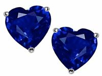 2 ct. Heart Sapphire Stud Earrings in Sterling Silver ~ Sept. BIRTHSTONE