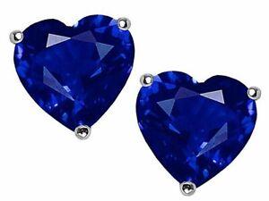2 ct. Heart Sapphire Stud Earrings in Sterling Silver ~ Sept. BIRTHSTONE