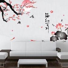 New Plum Flowers Wall Art Decals Vinyl Sticker Mural Lotus Chinese character