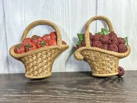 Pair of Vintage 1985 Homco Berry Baskets Plaques Wall Decor Burwood Co