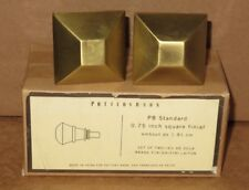 "SET/2 NIB Pottery Barn STANDARD .75"" IN. SQUARE CURTAIN FINIALS BRASS NEW *VHTF*"