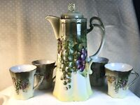 Vintage A C BAVARIA Chocolate Pot with 4 Cups, Grapes & Leaves Pattern signed