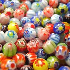 60 de 6 mm ronda mixto Millefiori cristal Perlas