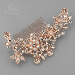 Bridal Hair Comb Pearl ROSE GOLD Crystal Headpiece Wedding Accessories 06515 Pin