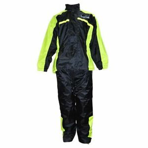 Jacket + Trousers Rain Trendy Black/Neon Yellow (Together 2 Pieces) Size S
