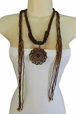 New Women Extra Long Brown Bronze Beads Tie Fashion Necklace Vintage Gold Charm