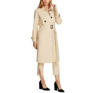 Vince Camuto Womens Double Weave Belted Long Trench Coat Outerwear BHFO 9637