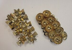 19 Vintage Christmas Tree Candle Holder Clips Pinecone Germany Gold NOS Retro
