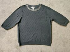Cathy Daniels Women's 1X Gray Cable Knit 3/4 Sleeve Sweater Metal Accents