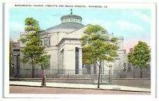 Mid-1900s Monumental Church (12th and Broad Streets), Richmond, VA Postcard