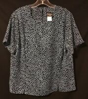 Southern Lady Pullover Top - Black with Aqua Pattern - Short Sleeve - Size 12