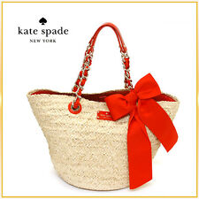 "$375 KATE SPADE Point Breeze Coal Straw Tote Bag ORANGE ""small"" large BOW"