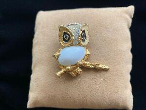 Vintage Jomaz White Cabochon & Pave Rhinestone Goldtone Owl on Branch Brooch Pin
