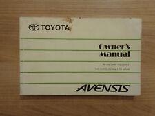 Toyota Avensis Owners Handbook/Manual 96-99