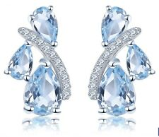 Blue Topaz Women's Stud Earrings Solid 925 Sterling Silver Natural Gemstone
