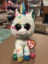 """Ty HARMONIE White w/Multi-Color Confetti Patterned Unicorn 6"""" Beanie Boo! *NEW*"""