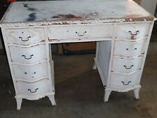 wood vintage, American, vanity, desk, , 9 drawer, possibly 50s or early 60s.