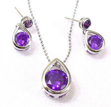 Women White Gold Plated Purple Simulated Diamond Dangle Earrings Necklace Set UK