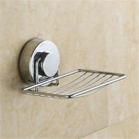 Stainless Steel Soap Dish Suction Cup Wall Holder Bathroom Storage Shower Sink