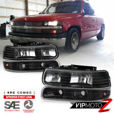 Chevy 99-02 Silverado 1500/2500/3500 Black Headlight+Bumper Parking Lamp 4PC Set