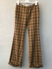 NWOT Band of Outsiders Women's Bronze Plaid WV Bellbottom Trousers Size 1/S
