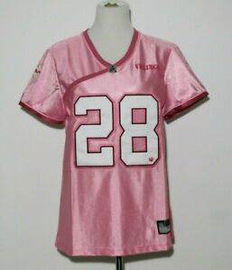 NWT Women's NFL Minnesota Vikings Reebok #28 Peterson Pink Jersey Embroidered XL