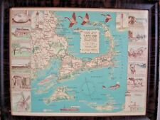 Vtg 1940 Pictorial Map Cape Cod Miniature Ed Colonial Craftsman Original Frame